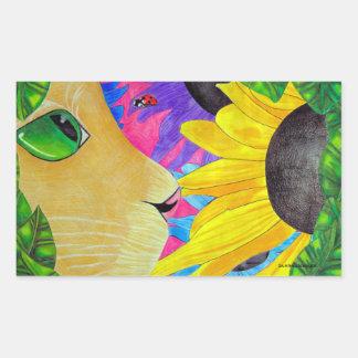 Green-Eyed Cat With Ladybug and Flower Rectangular Sticker