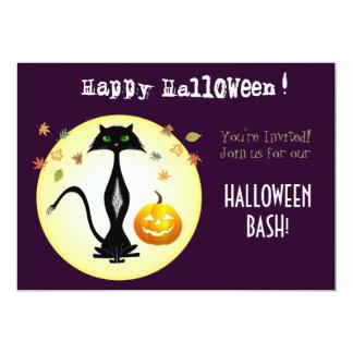 Green-eyed Cat With Pumpkin,  Invitation