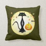 Green-eyed Cat  With Pumpkin, Pillow