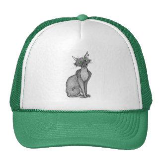 Green Eyed Creepy Cat Trucker Hat