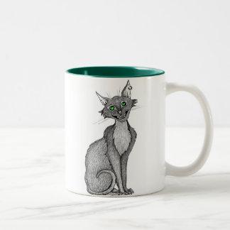 Green Eyed Creepy Cat Mugs
