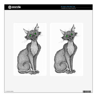 Green Eyed Creepy Cat Kindle Fire Skins