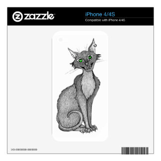Green Eyed Creepy Cat Skin For iPhone 4S