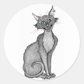 Green Eyed Creepy Cat Sticker