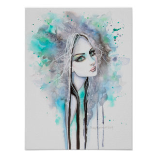 Green Eyed Ghost 12 x 16 Abstract Fantasy Portrait Poster