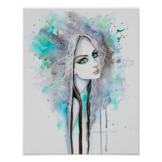 Green Eyed Ghost Abstract Fantasy Portrait Poster