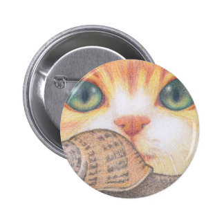 Green eyed ginger cat and snail button/ badge