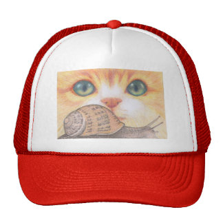 Green eyed ginger cat and snail Cap Trucker Hat