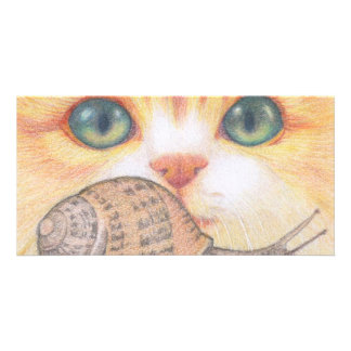 Green eyed ginger cat and snail card