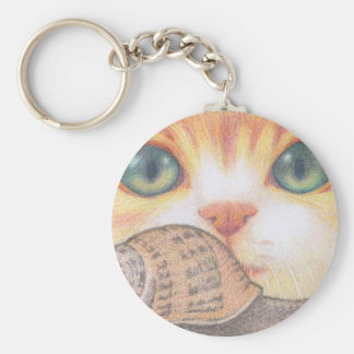 Green eyed ginger cat and snail key chains