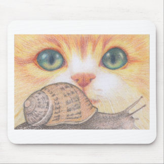 Green eyed ginger cat and snail mousepad