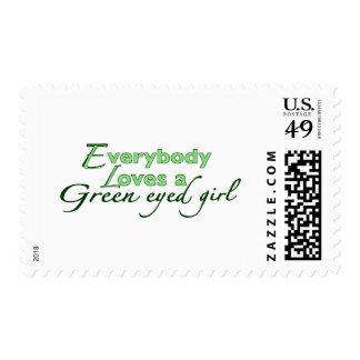 Green Eyed Girl Stamp