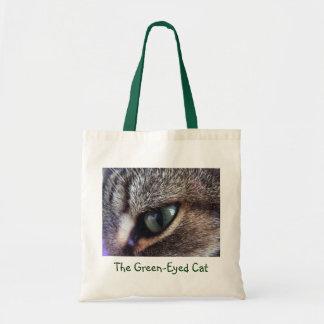 Green-Eyed Gray Tabby Cat Eye Close-Up Budget Tote Bag