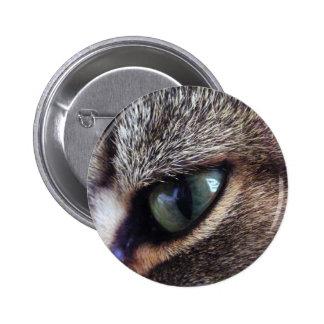 Green-Eyed Gray Tabby Cat Eye Close-Up Pins