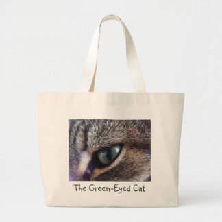 Green-Eyed Gray Tabby Cat Eye Close-Up Large Tote Bag