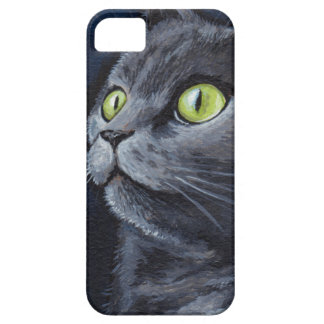 Green Eyed Grey Cat Painting iPhone 5 Case