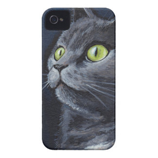 Green Eyed Grey Cat Painting iPhone 4 Case-Mate Case