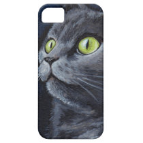 Green Eyed Grey Cat Painting iPhone SE/5/5s Case