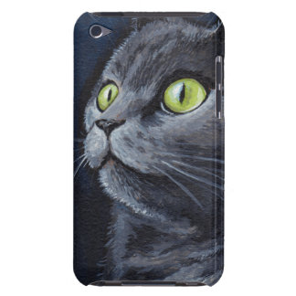 Green Eyed Grey Cat Painting iPod Touch Case