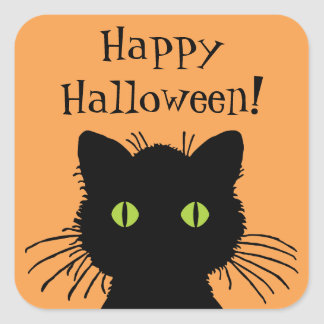 Green Eyed Halloween Black Cat Design Square Sticker