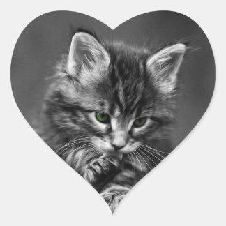 Green Eyed Kitten Heart Sticker