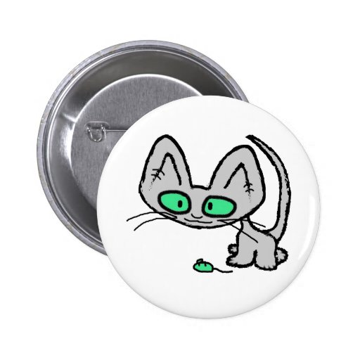 Green Eyed Kitty And his Green Mouse Toy Button