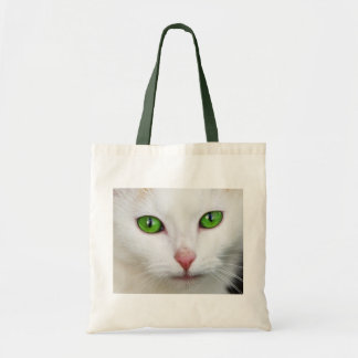 Green Eyed Kitty Canvas Bag