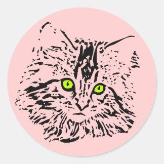 GREEN EYED KITTY CAT CLASSIC ROUND STICKER
