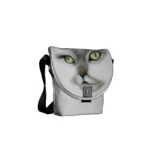 Green Eyed Kitty Messenger Bag
