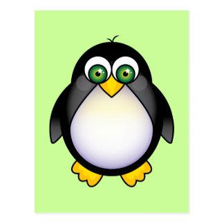 Green Eyed Penguin Cartoon Postcard
