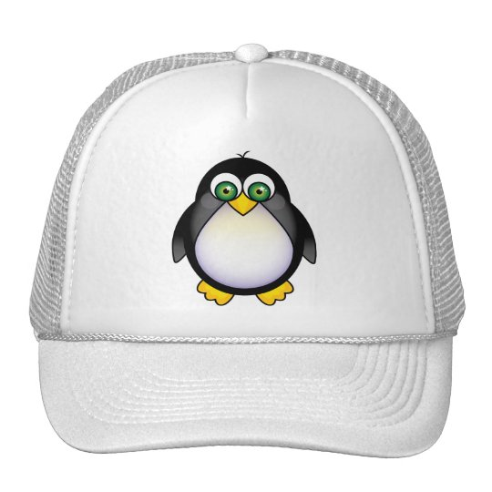 Green Eyed Penguin Cartoon Trucker Hat
