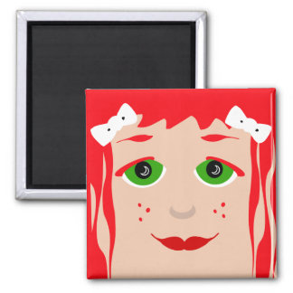 Green Eyed Red Haired Cartoon Girl Magnet