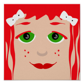 Green Eyed Red Haired Cartoon Girl Poster