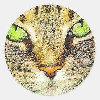 Green Eyed Tabby Cat Classic Round Sticker