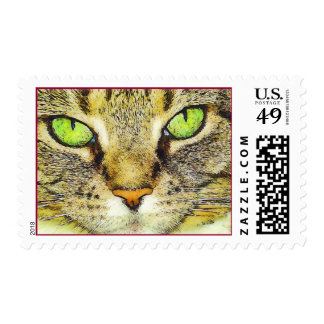 Green Eyed Tabby Cat Postage Stamp