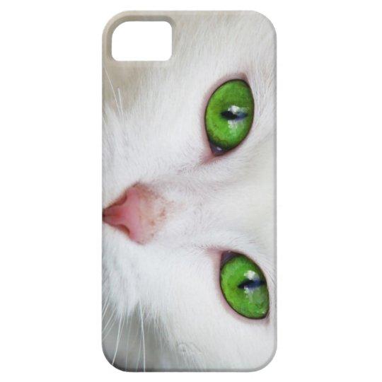 Green Eyed White Cat Cute I Phone Case