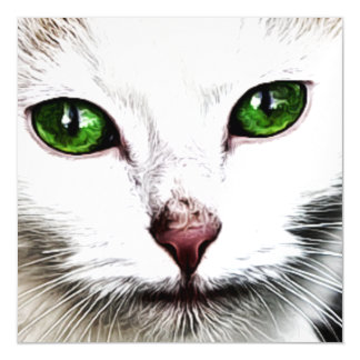 green eyed white cat Magnetic Card
