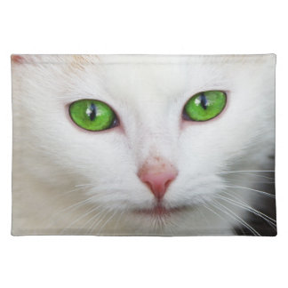 Green Eyed White Cat Place Mats