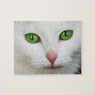 Green Eyed White Cat Puzzle