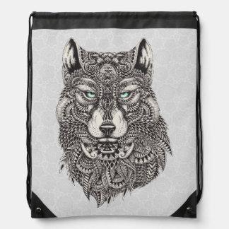 Green Eyed Wolf Detailed Illustration Drawstring Bag