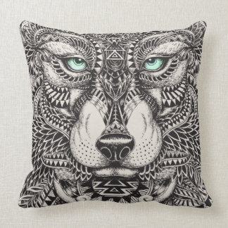 Green Eyed Wolf Ornate Illustration Throw Pillow