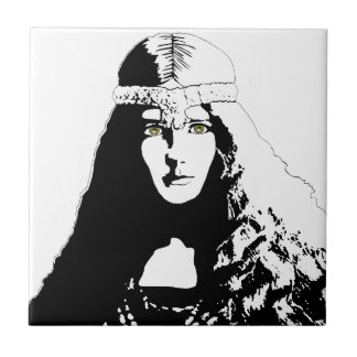 Green-eyed Woman in Black and White Tile