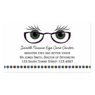Green Eyes and Glasses Business Card Templates