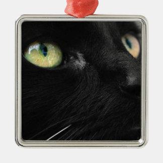 Green Eyes - Black Cat Square Metal Christmas Ornament