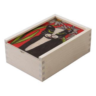 Green Eyes black White folk Art Cat Daisies Wooden Keepsake Box