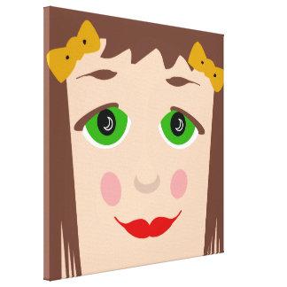 Green Eyes Brown Hair Girl Face Cute Pop Art Canvas Print