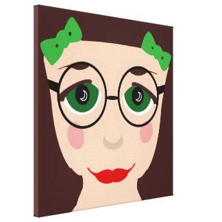 Green Eyes Brown Hair Girl Face Glasses Pop Art Canvas Print