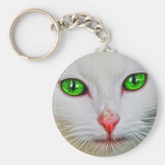 Green Eyes Cat Keychain