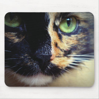 Green-Eyes Lady-Cat Mouse Pad