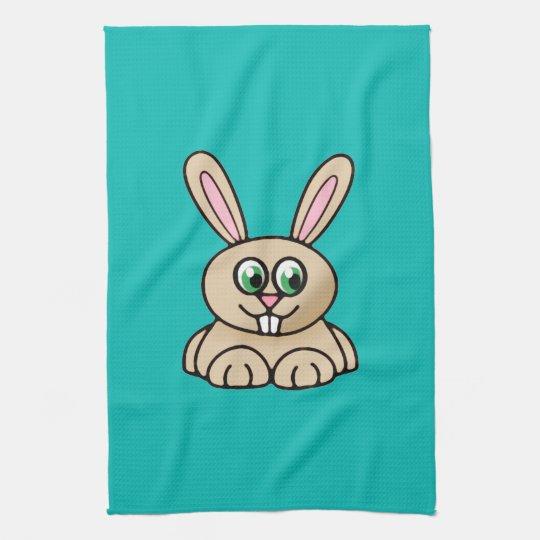 Green Eyes Rabbit Cartoon Art Kitchen Towel